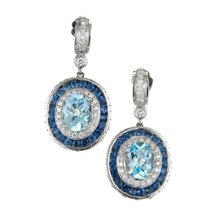 Charles Krypell Oval Aqua Sapphire Diamond White Gold Earrings
