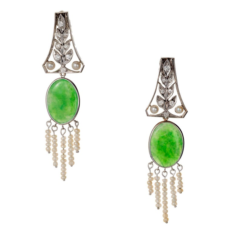 Natural Jadeite Jade Pearl Diamond Art Deco Platinum Dangle Earrings