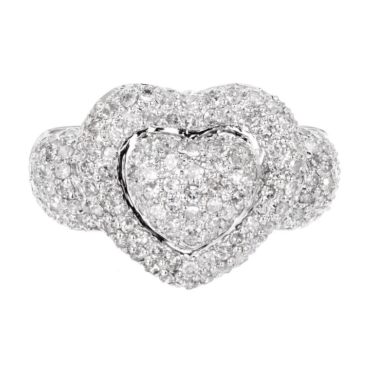 2.75 Carat Domed Diamond White Gold Heart Cocktail Ring