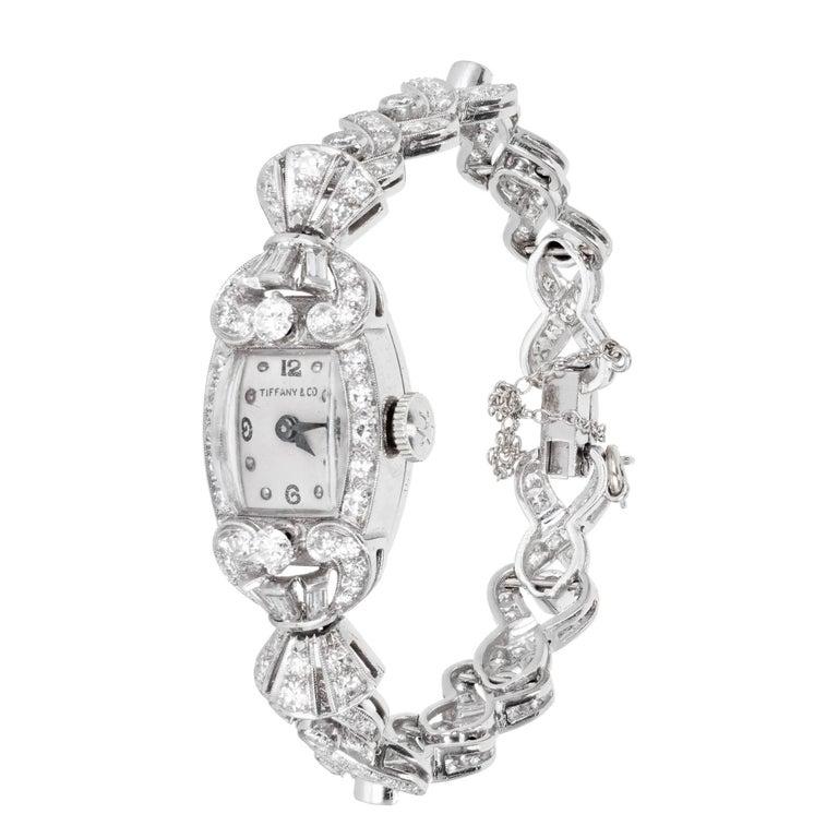 Tiffany & Co. Hamilton Ladies Platinum Diamond Bracelet Wristwatch, circa 1940 For Sale