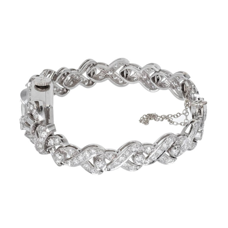 Women's Tiffany & Co. Hamilton Ladies Platinum Diamond Bracelet Wristwatch, circa 1940 For Sale