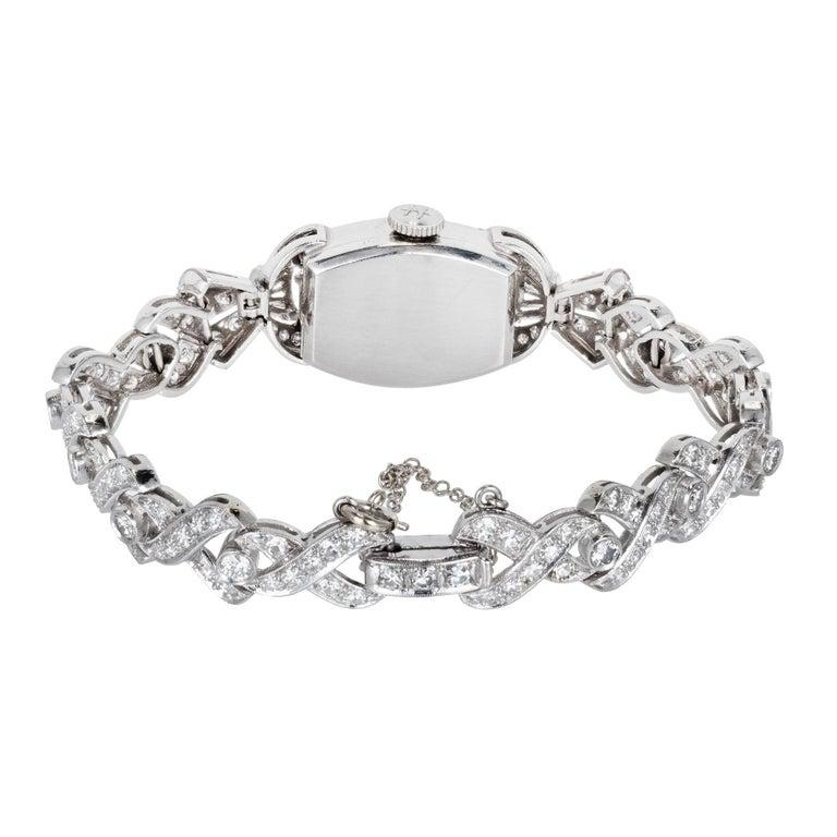 Tiffany & Co. Hamilton Ladies Platinum Diamond Bracelet Wristwatch, circa 1940 For Sale 1
