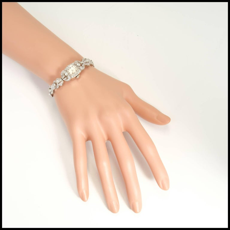 Tiffany & Co. Hamilton Ladies Platinum Diamond Bracelet Wristwatch, circa 1940 For Sale 2