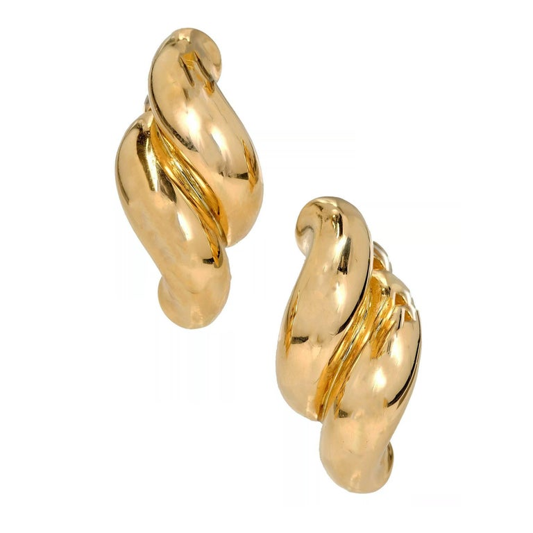 Tiffany & Co. Yellow Gold Double Swirl Link Clip Post Earrings