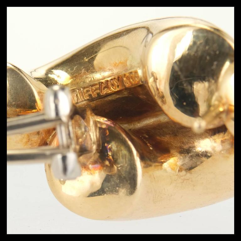 Women's Tiffany & Co. Yellow Gold Double Swirl Link Clip Post Earrings For Sale