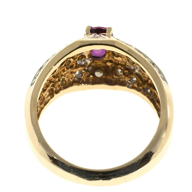 Oval Pink Red Ruby Diamond Bead Set Gold Cocktail Ring For Sale 2