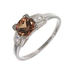 GIA Certified 1.01 Carat Brown Orange Sapphire Diamond Platinum Engagement Ring