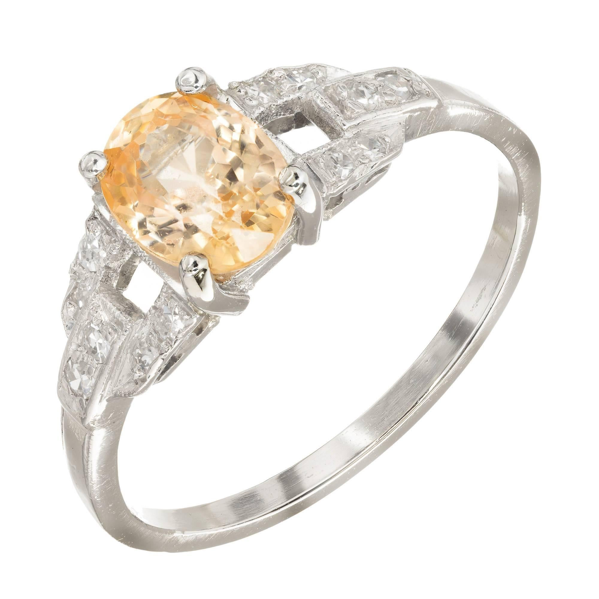 1.21 Carat Natural Yellow Orange Sapphire Diamond Platinum Engagement Ring