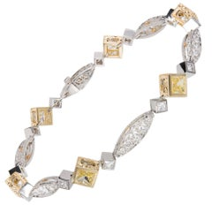 Michael Beaudry 3.95 Carat Natural Fancy Yellow Diamond Platinum Gold Bracelet