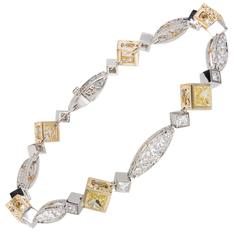Michael Beaudry Natural Fancy Yellow Diamond Platinum Gold Bracelet