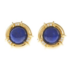 Tiffany & Co. Lapis Diamond Gold Earrings