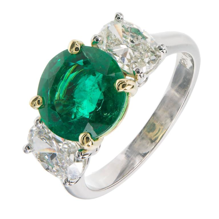 Peter Suchy 3.07 Carat Emerald Diamond Platinum Gold Engagement Ring