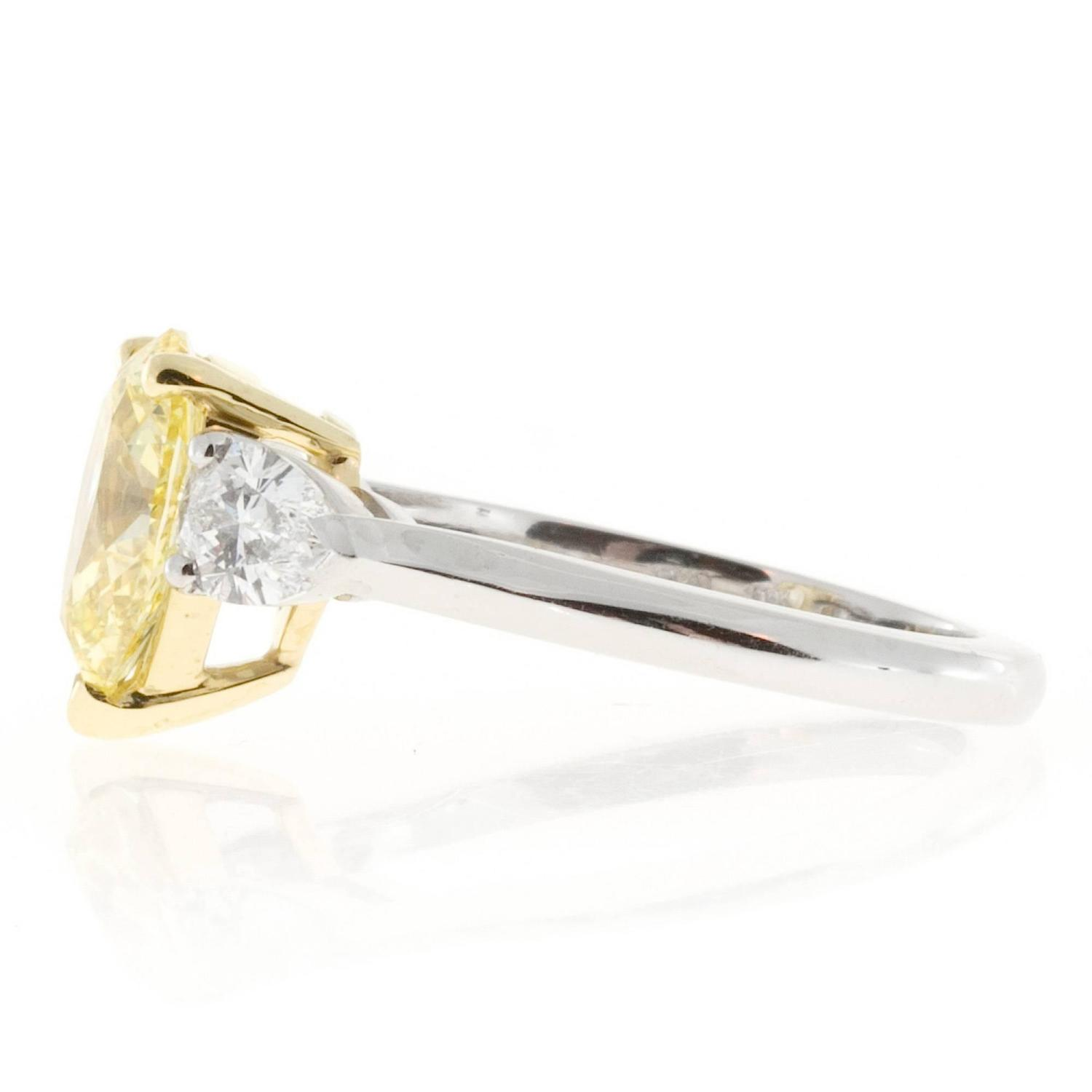 Peter Suchy Pear Shaped Yellow Diamond Platinum Ring For Sale at 1stdibs