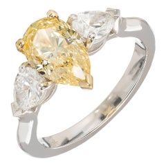 Peter Suchy 1.54 Carat Pear Yellow White Diamond Platinum Gold Engagement Ring