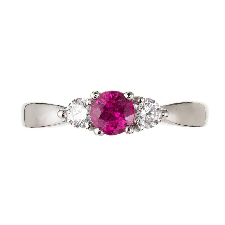 Peter Suchy .56 Carat Pink Sapphire Diamond Gold Three-Stone Engagement Ring