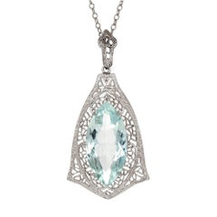 5.15 Carat Marquise Aqua Filigree White Gold Pendant Necklace