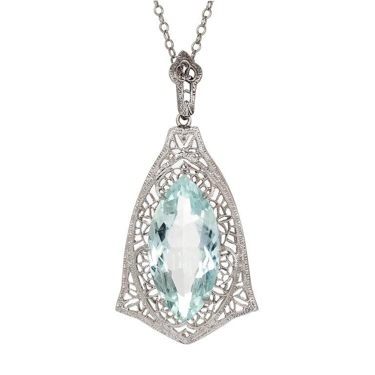 5.15 Carat Marquise Aqua Filigree White Gold Pendant Necklace