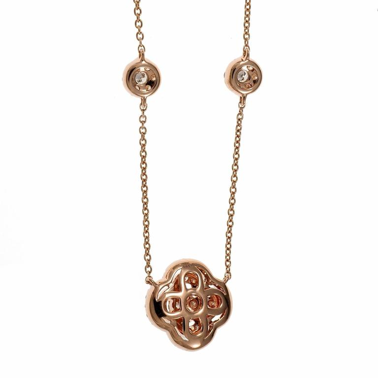 Diamond Cluster Rose Gold Pendant Necklace For Sale 4