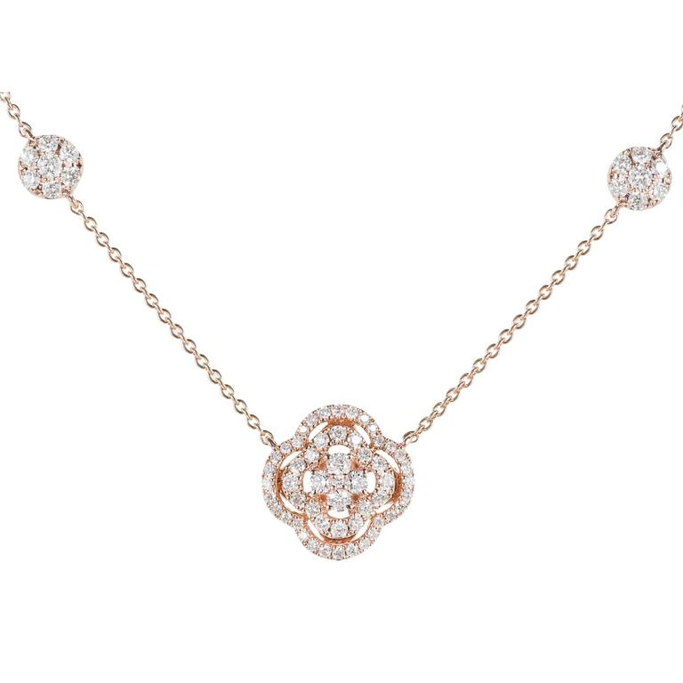 Diamond Cluster Rose Gold Pendant Necklace