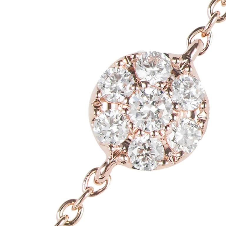 Diamond Cluster Rose Gold Pendant Necklace In Good Condition For Sale In Stamford, CT