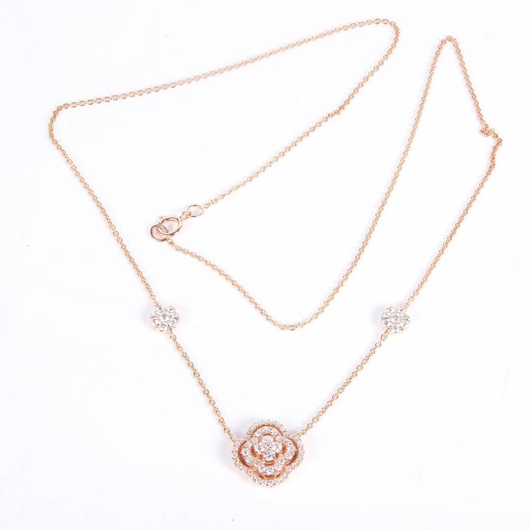 Diamond Cluster Rose Gold Pendant Necklace For Sale 1