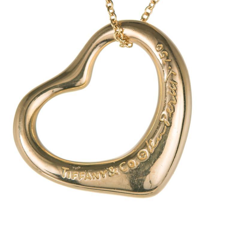 7f738ff13 Tiffany & Co Elsa Peretti 18k yellow gold medium Diamond open heart  pendant on a