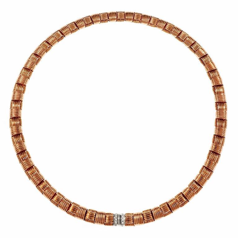 Roberto Coin Appassionata Diamond Rose White Gold Necklace