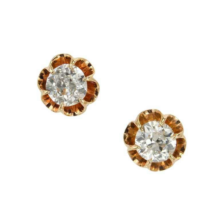 EGL Certified .75 Carat Art Deco Diamond Rose Gold Platinum Stud Earrings
