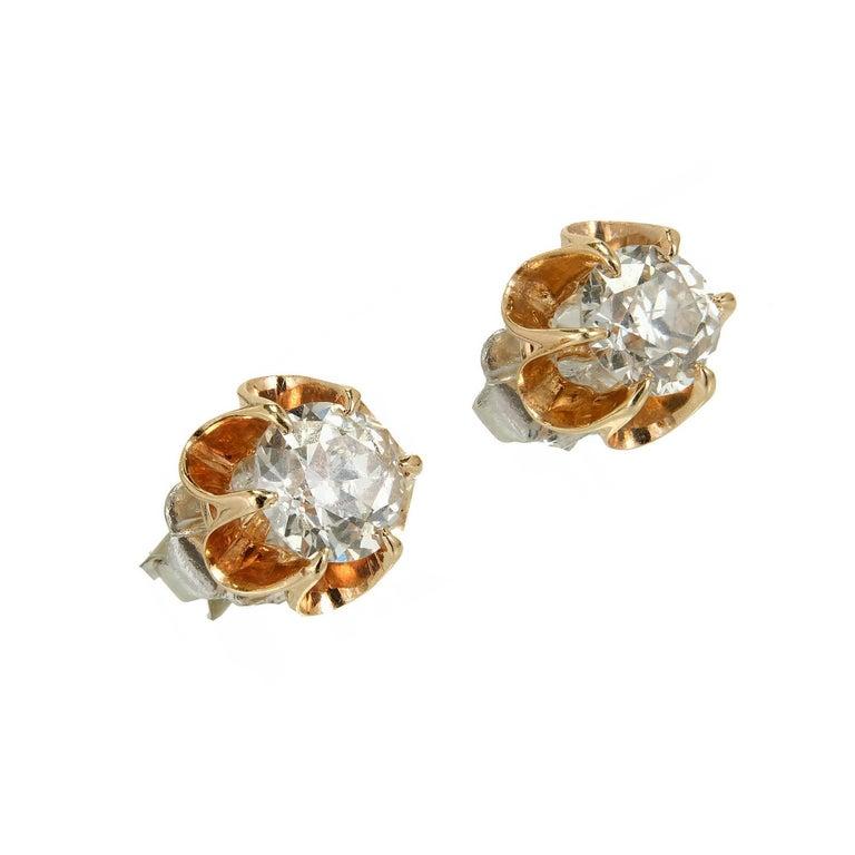 EGL Certified .75 Carat Art Deco Diamond Rose Gold Platinum Stud Earrings 2