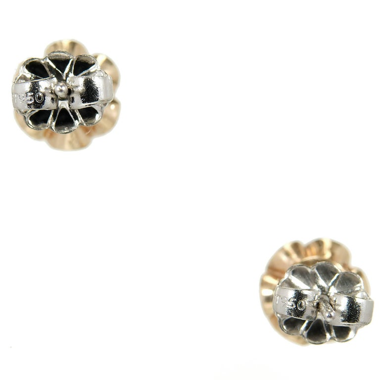 EGL Certified .75 Carat Art Deco Diamond Rose Gold Platinum Stud Earrings 4