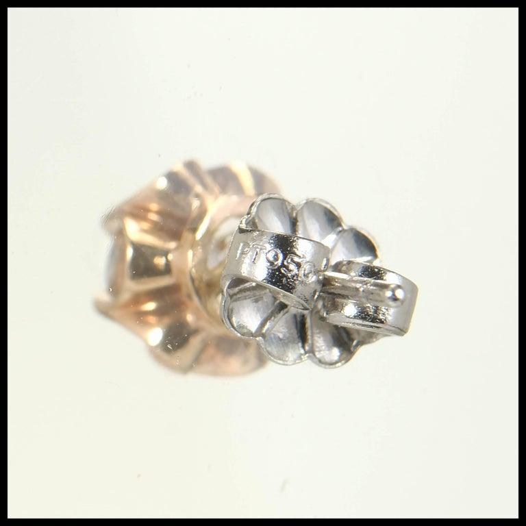EGL Certified .75 Carat Art Deco Diamond Rose Gold Platinum Stud Earrings 6