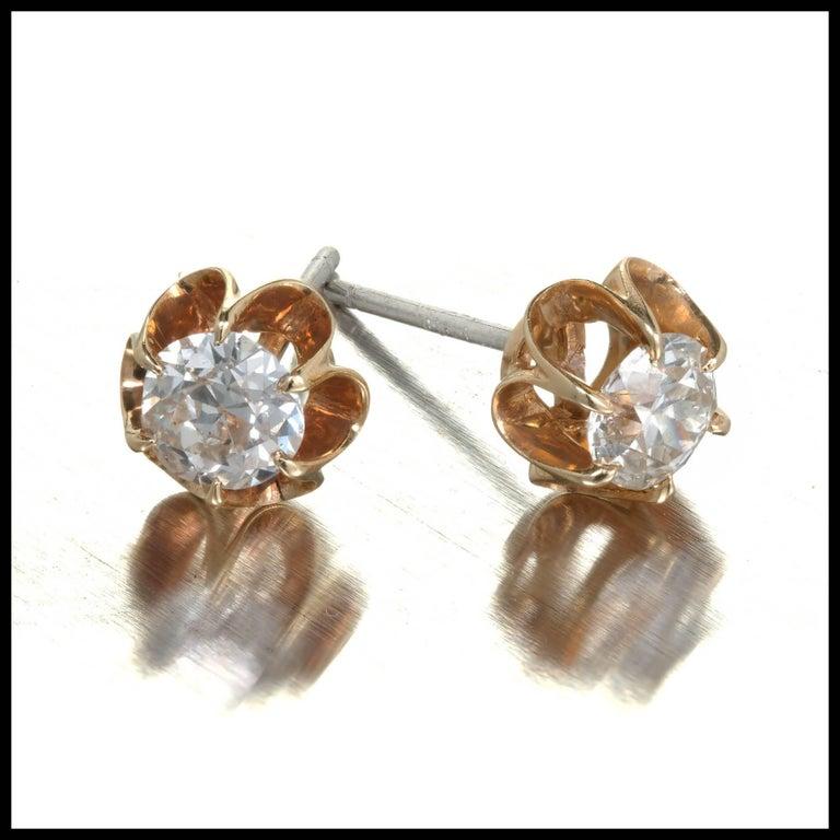 EGL Certified .75 Carat Art Deco Diamond Rose Gold Platinum Stud Earrings 3