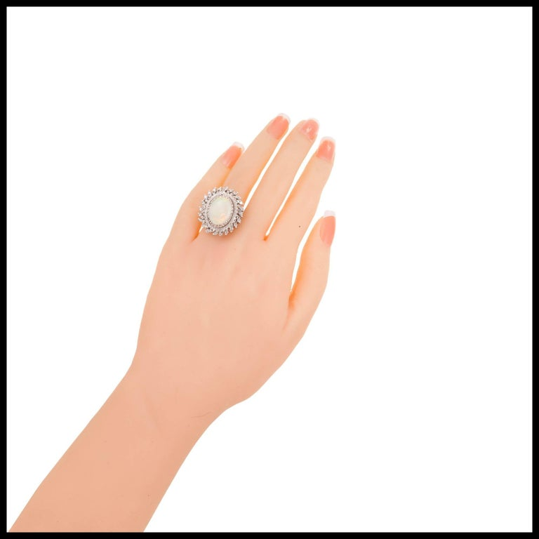 4.50 Carat Oval Opal Diamond Halo Gold Cocktail Ring 4