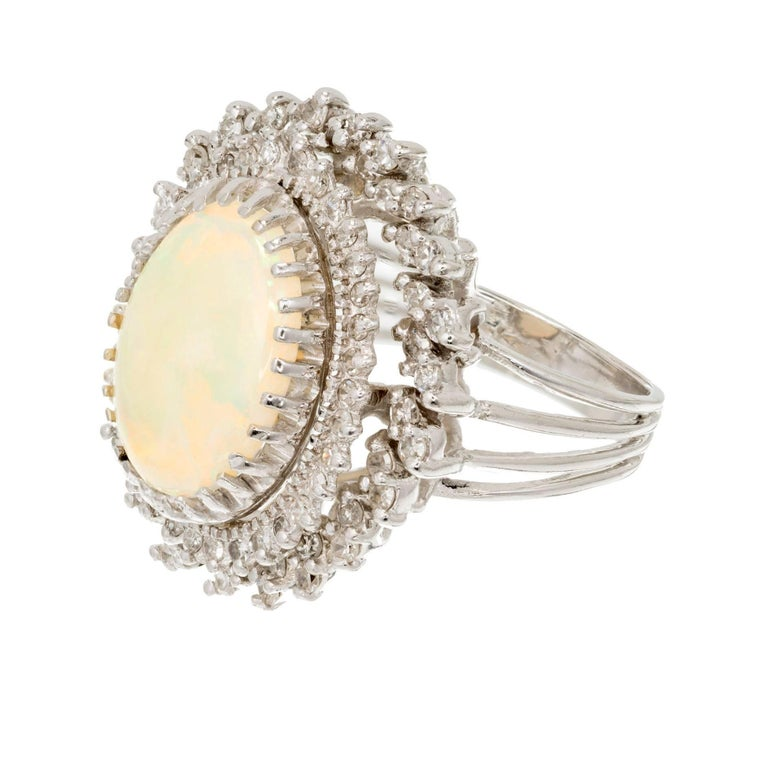 4.50 Carat Oval Opal Diamond Halo Gold Cocktail Ring 2
