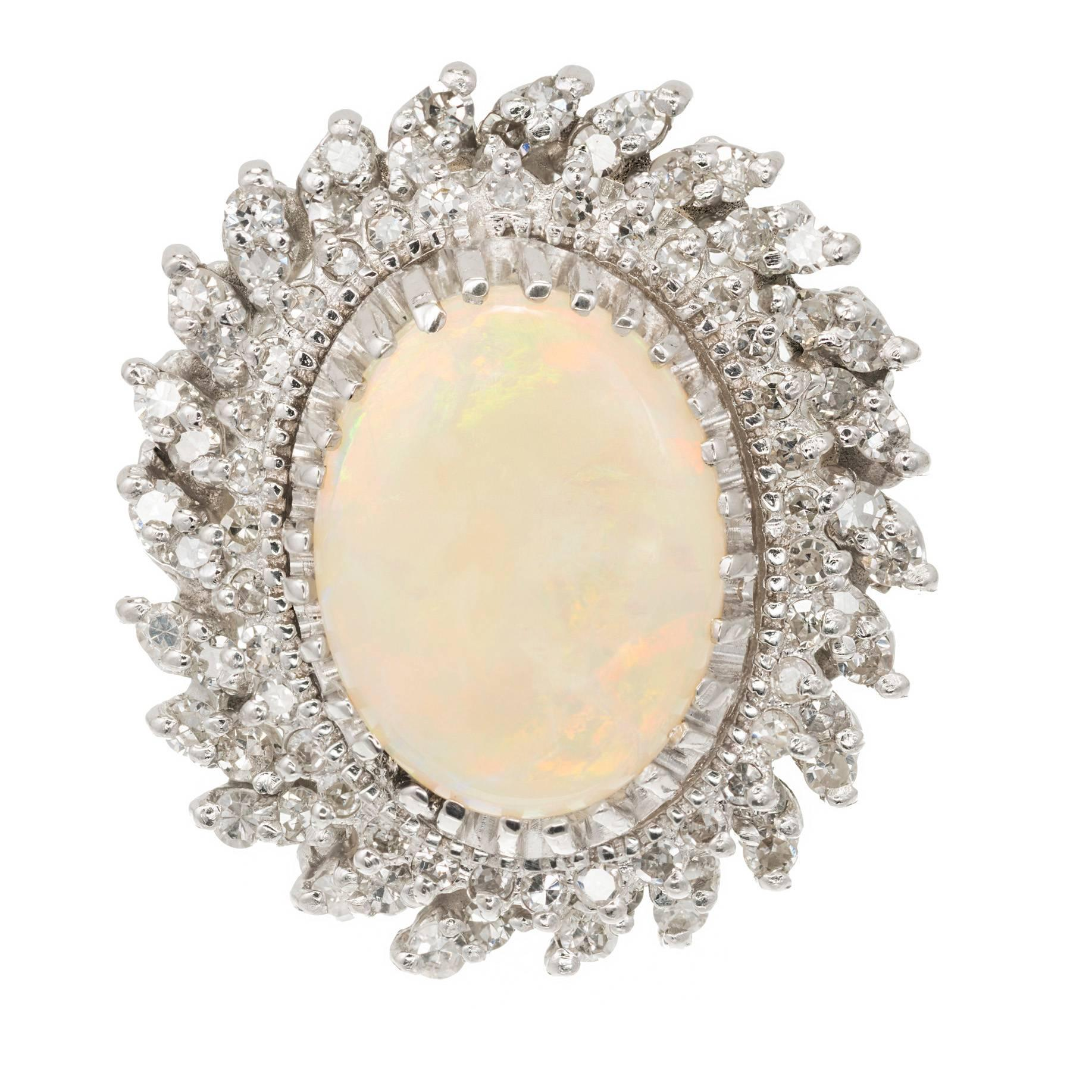4.50 Carat Oval Opal Diamond Halo Gold Cocktail Ring