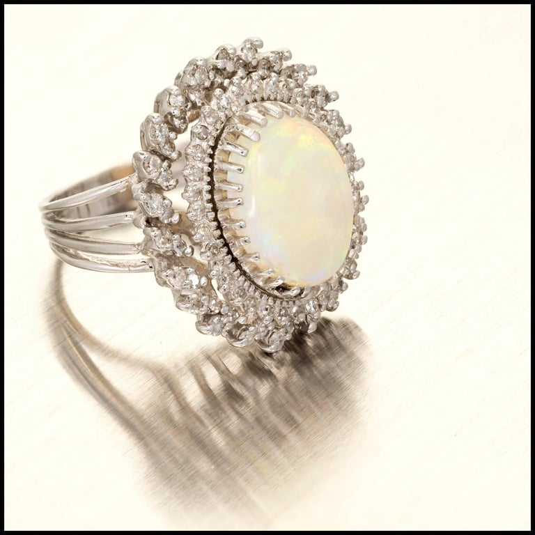 4.50 Carat Oval Opal Diamond Halo Gold Cocktail Ring 3