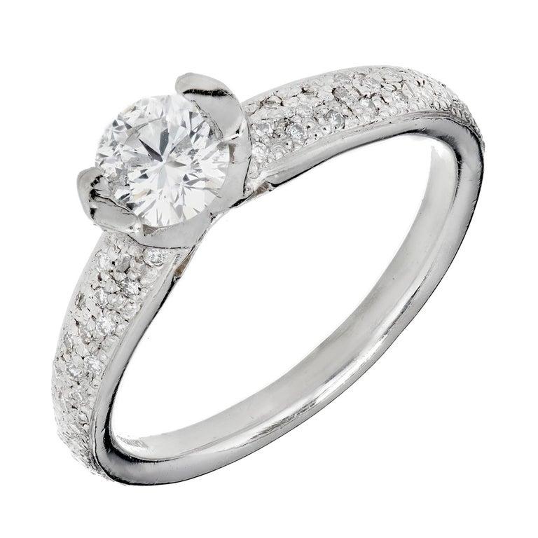 Mosi EGL Certified .52 Carat Diamond Platinum Engagement Ring