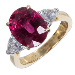 Richard Krementz Rubelite Pink Tourmaline Diamond Platinum Gold Engagement Ring