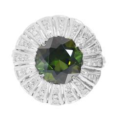 5.75 Carat Octagonal Green Tourmaline Diamond Palladium Cocktail Ring