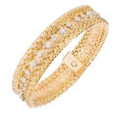 2.78 Carat Diamond Heavy Mesh Gold Bracelet