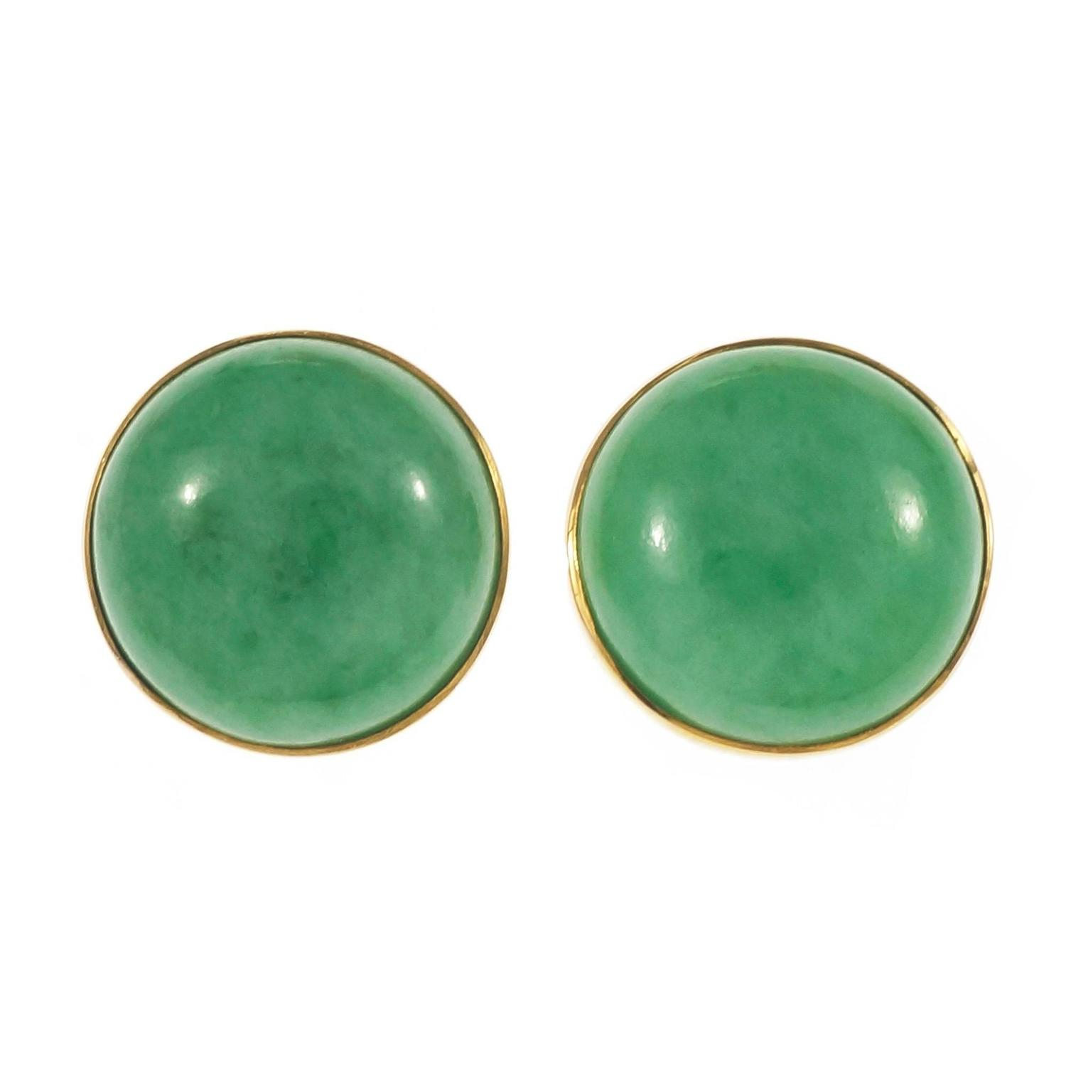 Yafa signed jewels new york ny 1stdibs page 4 - Gia Certified Natural Round Jadeite Jade Round Gold Earrings