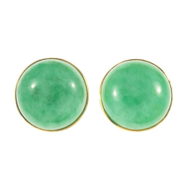 Gia Certified Natural Round Jadeite Jade Gold Earrings For