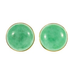 GIA Certified Natural Round Jadeite Jade Round Gold Earrings