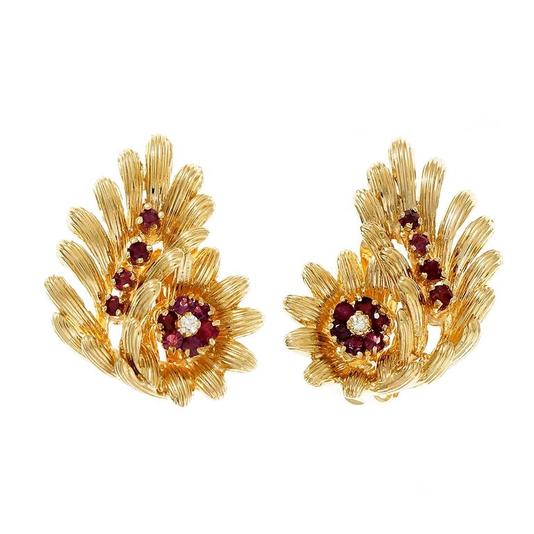 GIA Certified Red Natural Ruby Diamond Gold Clip Post Flower Earrings For Sale