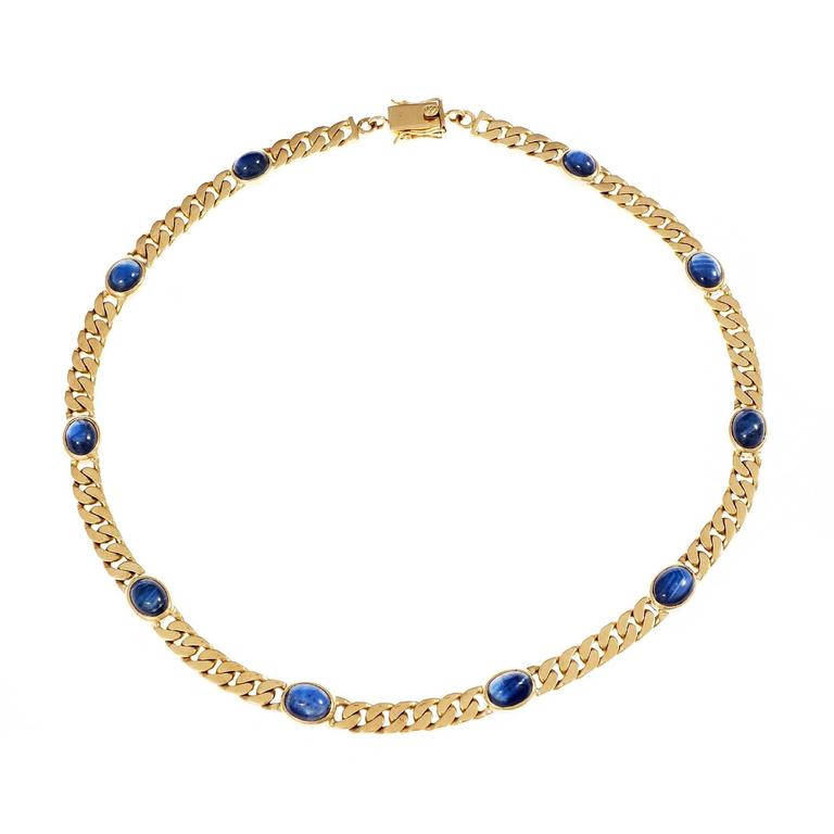 Oval Cabochon Sapphire Solid Gold Link Necklace