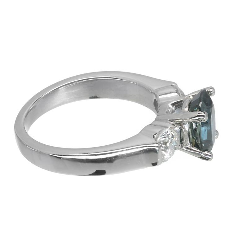 2.11 Carat GIA Certified Sapphire Diamond Platinum Three Stone Engagement Ring In Good Condition For Sale In Stamford, CT