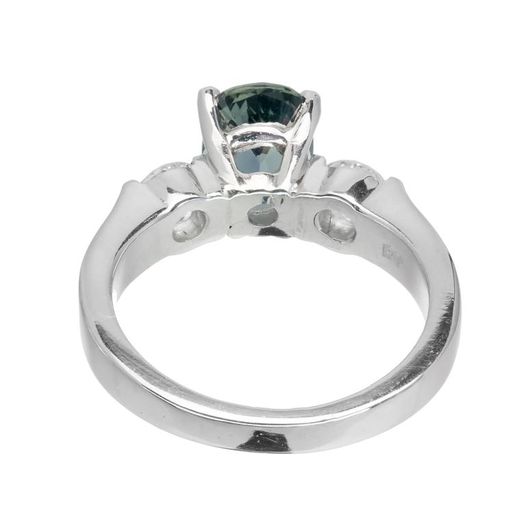Women's 2.11 Carat GIA Certified Sapphire Diamond Platinum Three Stone Engagement Ring For Sale