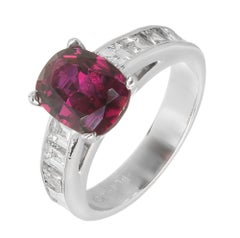 Peter Suchy GIA Certified 2.68 Carat Cushion Ruby Diamond Platinum Engagement