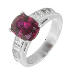 Peter Suchy GIA Certified 2.68 Carat Cushion Ruby Diamond Platinum Engagement