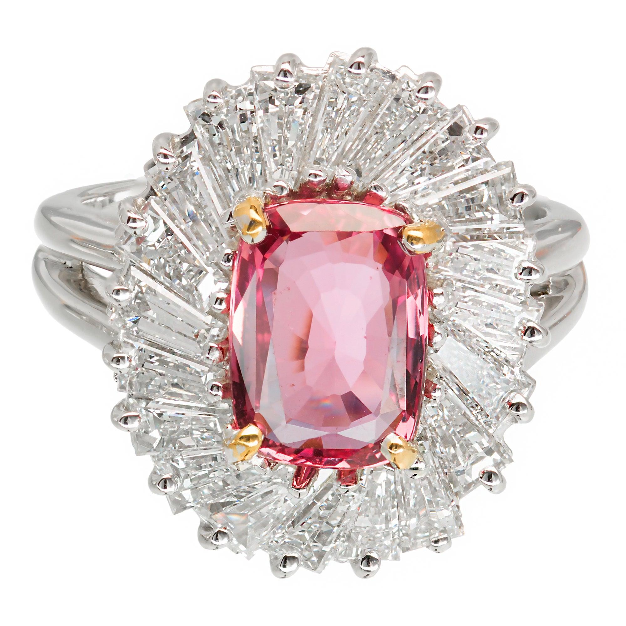 2.39 Carat Pink Sapphire Baguette Diamond Halo Platinum Gold ...